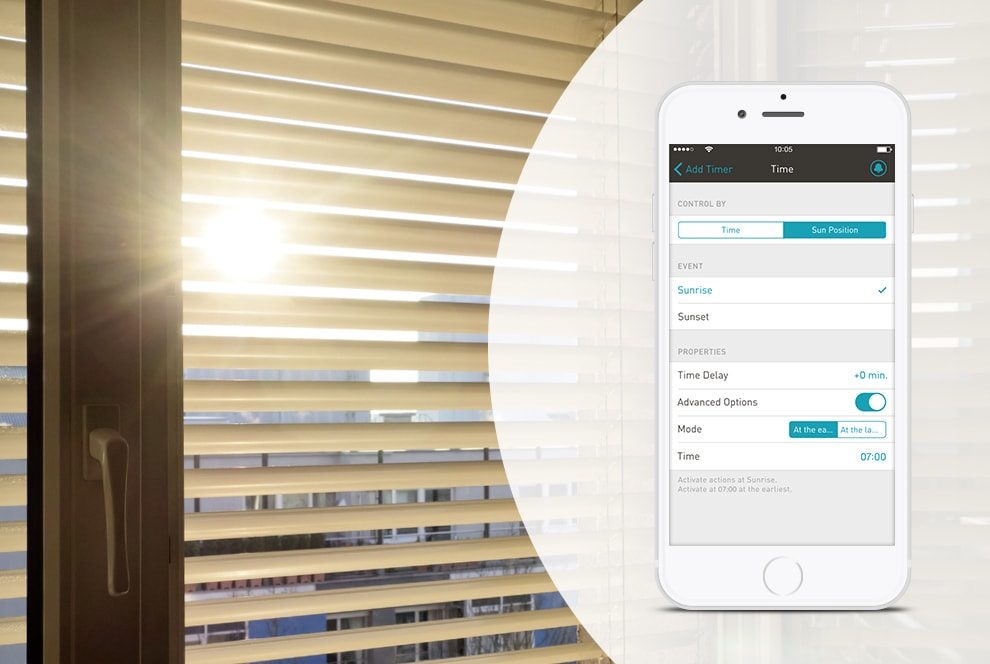 enet smart home blind control. Black Bedroom Furniture Sets. Home Design Ideas