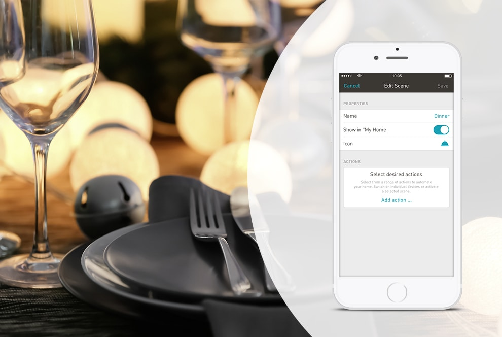 ... The ENet SMART HOME App. For Instance, Set A Light Scene For Dinner:  Every Lamp In The Dining Area Dims To A Mellow Intensity. More Impressive  Than Any ...
